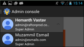 Android admin app accounts