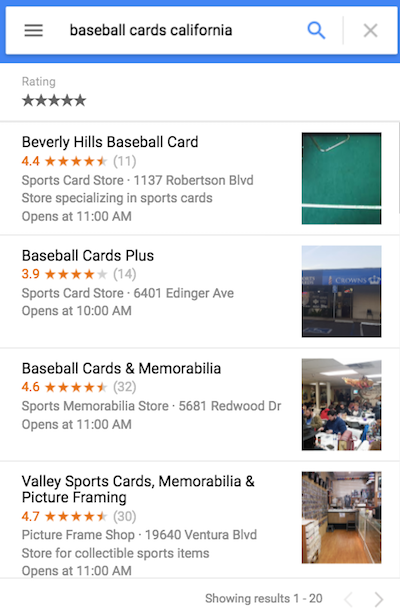 Sample Google Search result showing rich results for physical stores.
