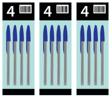 An illustration of 3 4-pack of pens