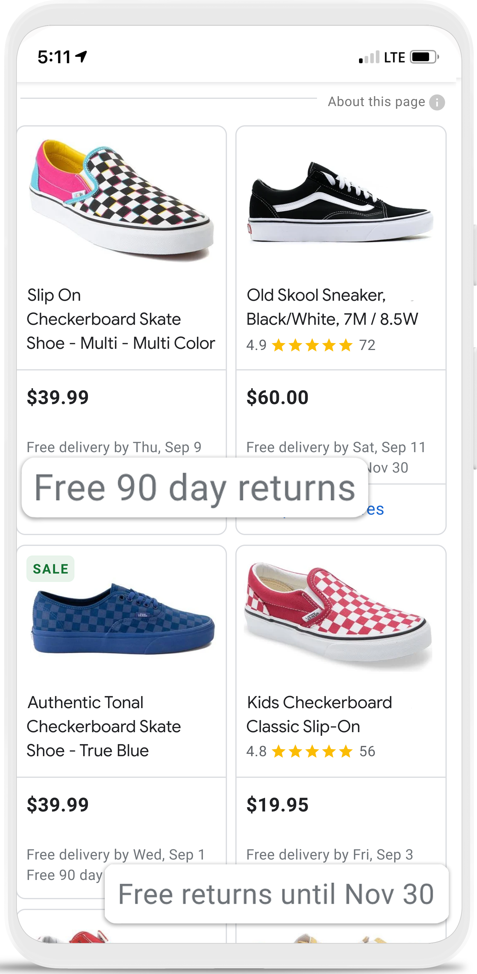 return policy directly in your ads