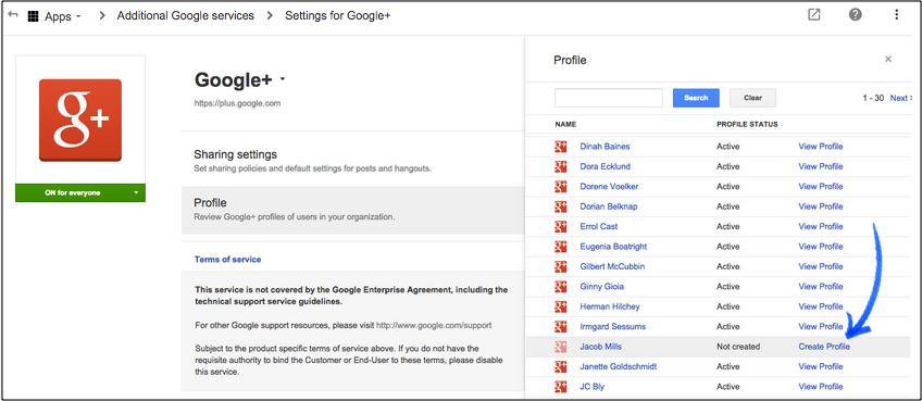 how to create profile on google
