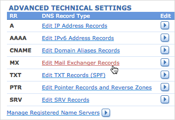 Edit Mail Exchanger Records