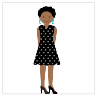 An illustration of a woman wearing a polka dot dress