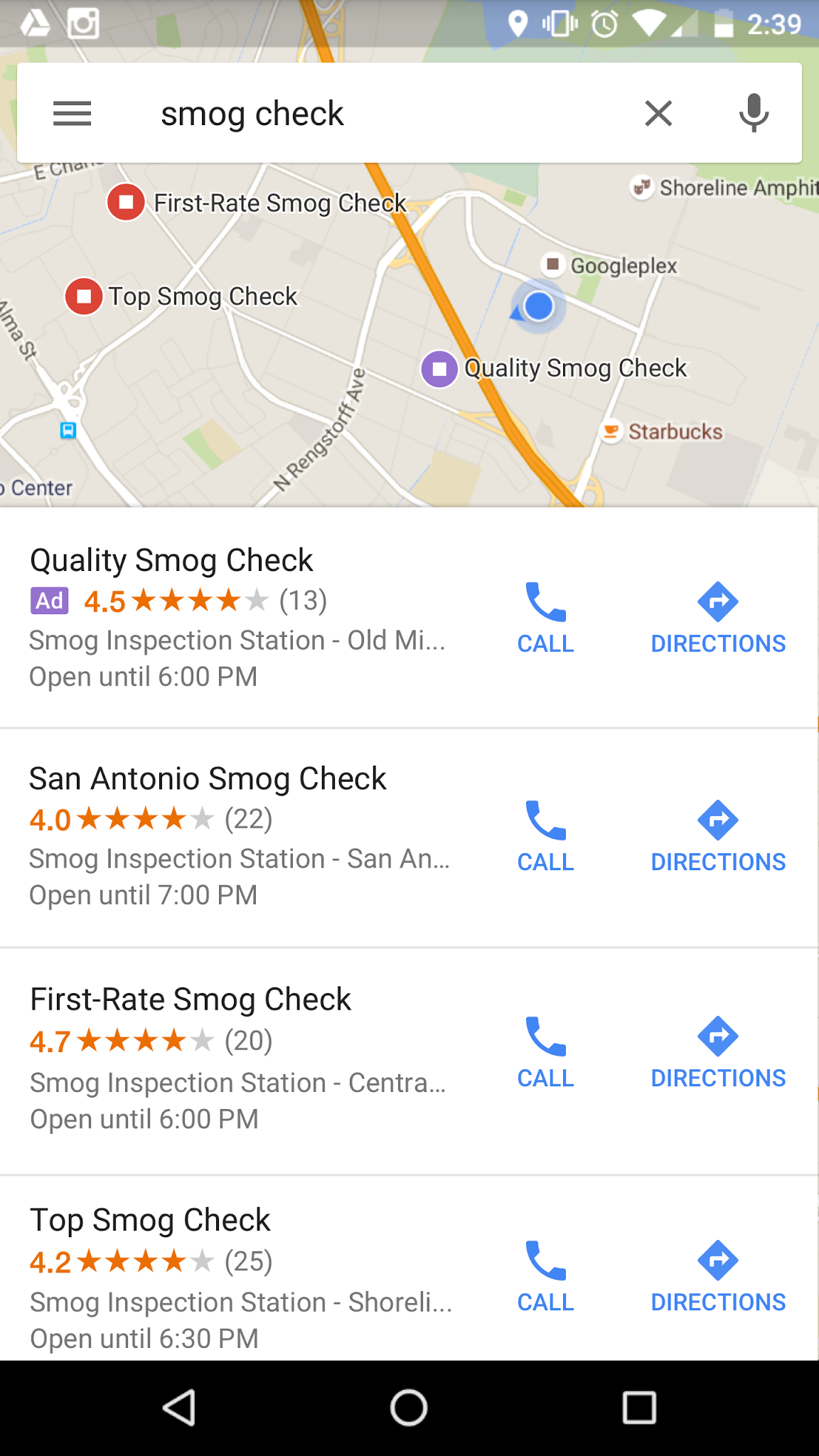 Local search ads on Google Maps for mobile