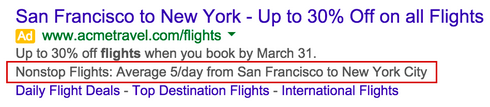 Adwords Example of Dynamic Structured Snippet in Search Results