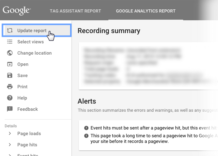 Google Tag Assistant Recordings の Update report メニュー