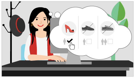 An illustration showing a person shopping online and filtering clothing options by gender