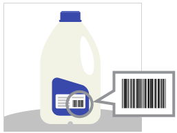 An illustration of a jug of milk with GTIN visible and highlighted