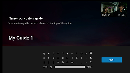 Name custom guide on Google Fiber TV
