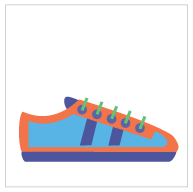Blue and orange shoe
