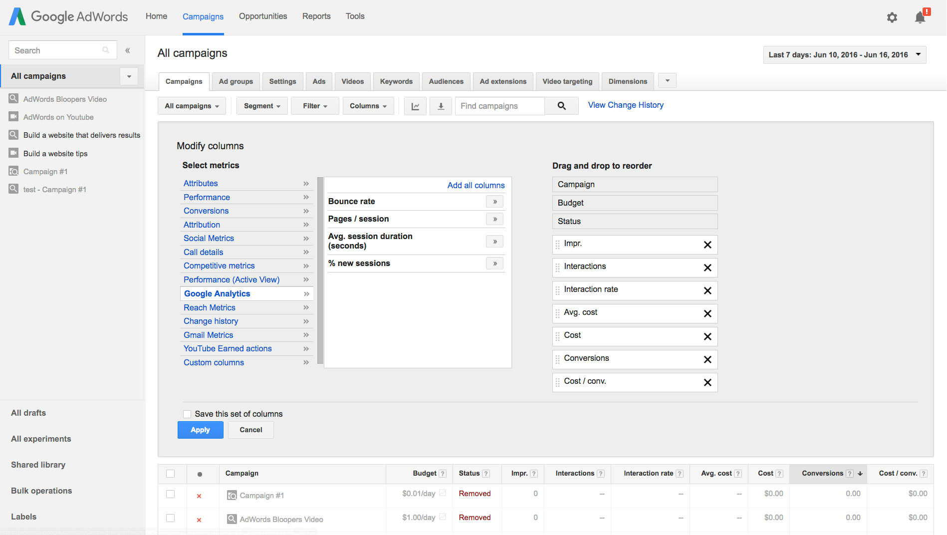 Select Google Analytics in Modify columns