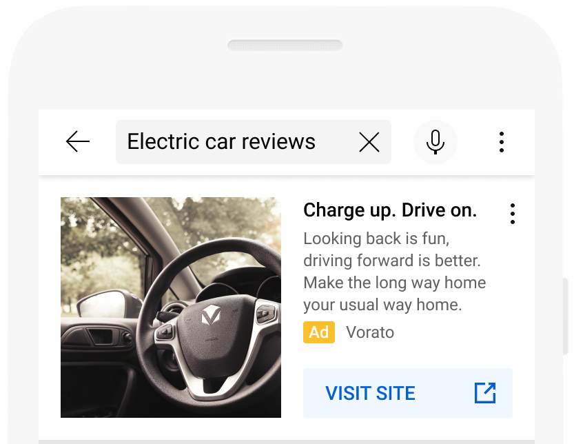 Example image extension ad in YouTube search