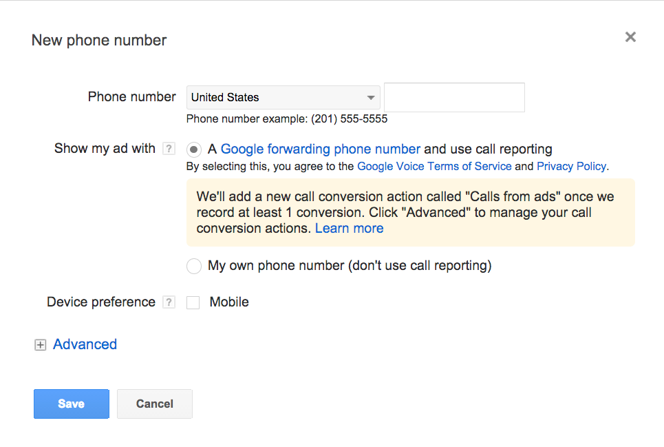 Set up Google forwarding numbers
