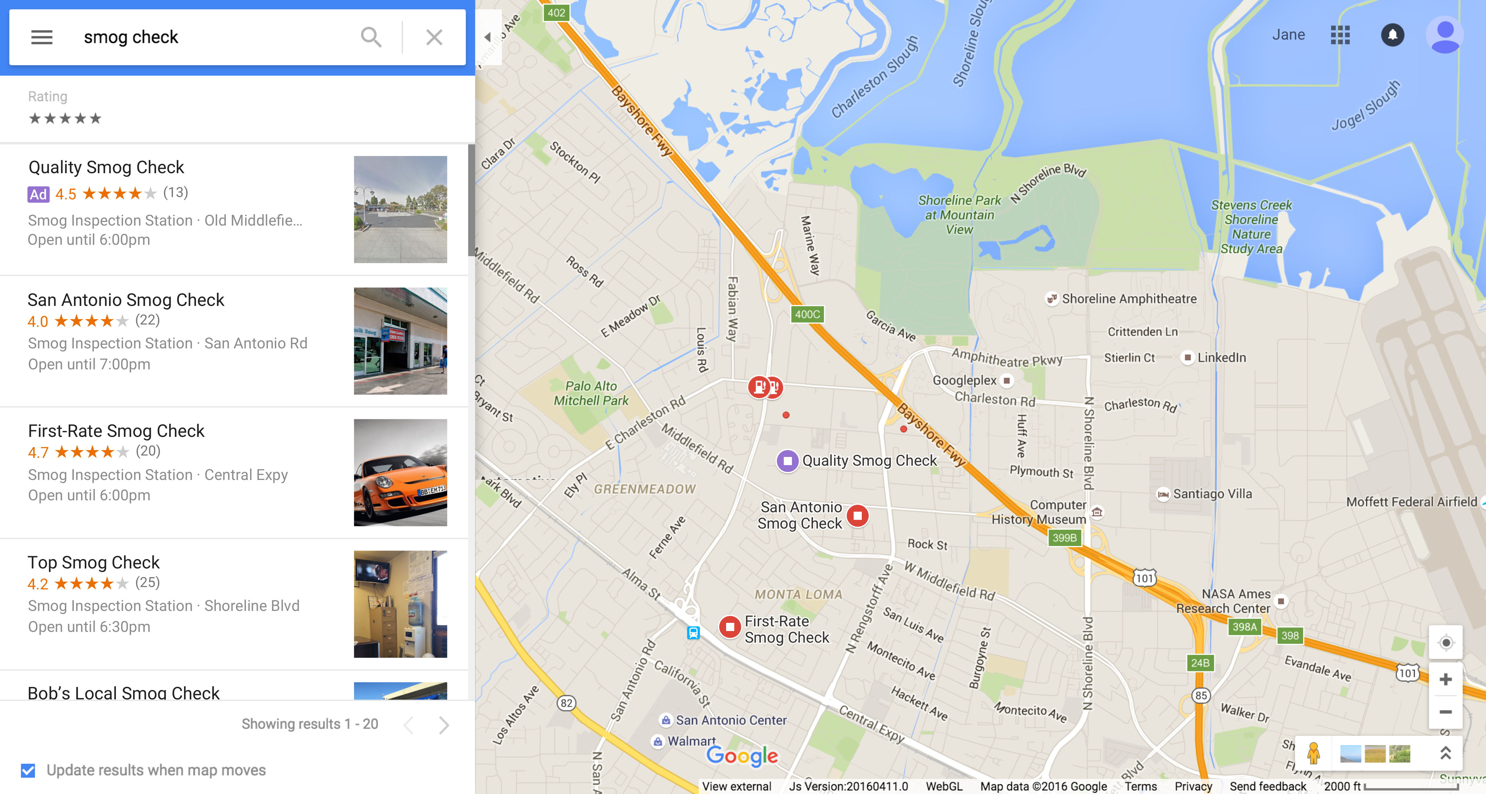 Local search ads on Google Maps for desktop