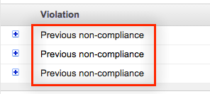 "Example of ""Previous non-compliance"" policy notfication issue"