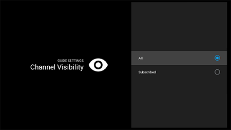 Set channel visibility in guide setting on Fiber TV