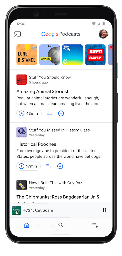 Google Podcasts app on Android