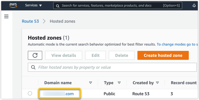 AWS hosted zone is shown with a domain highlighted