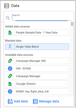 The data source picker showing multiple data source types with colored icons, and including Add data and Manage data links.