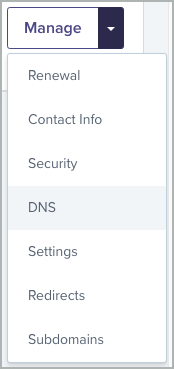 The down button and the DNS menu option are selected.
