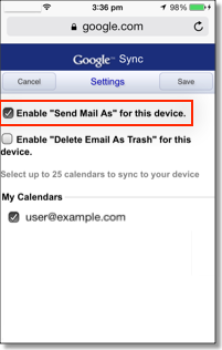 iOS send mail as setting