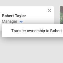 Transfer ownership to name_of_person