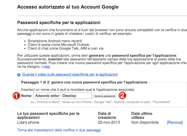 Applicazione password specifiche di Google Account