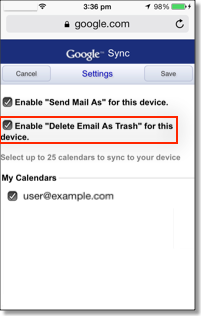 Delete Email As Trash checked