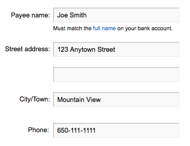 Example payee name and address