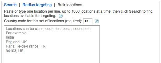 Bulk locations dialog box