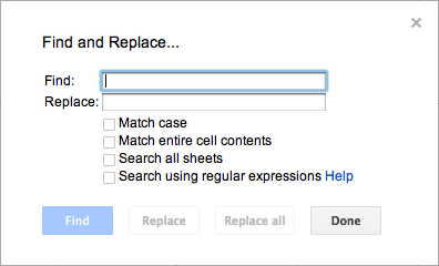 Google Docs find and replace dialog box