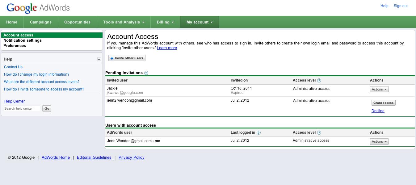 Grant account access