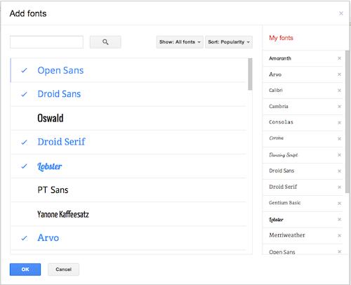Google docs drop down menu color