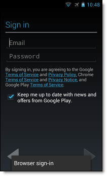 Set up Google Account on Android SSO, step 4