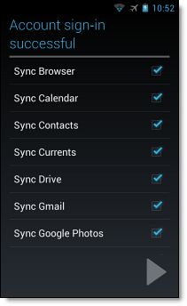 Set up Google Account on Android SSO, step 7, sync your services