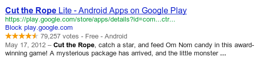 a Google rich snippet showing information about a software application