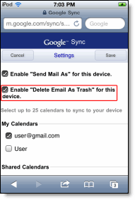 set delete mail option