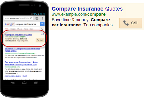 An example of an ad with a call extension