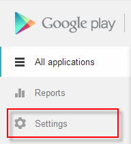 Google Play Developer Console Settings Icon