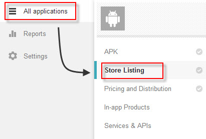 Google Play Developer Console - Store Listing