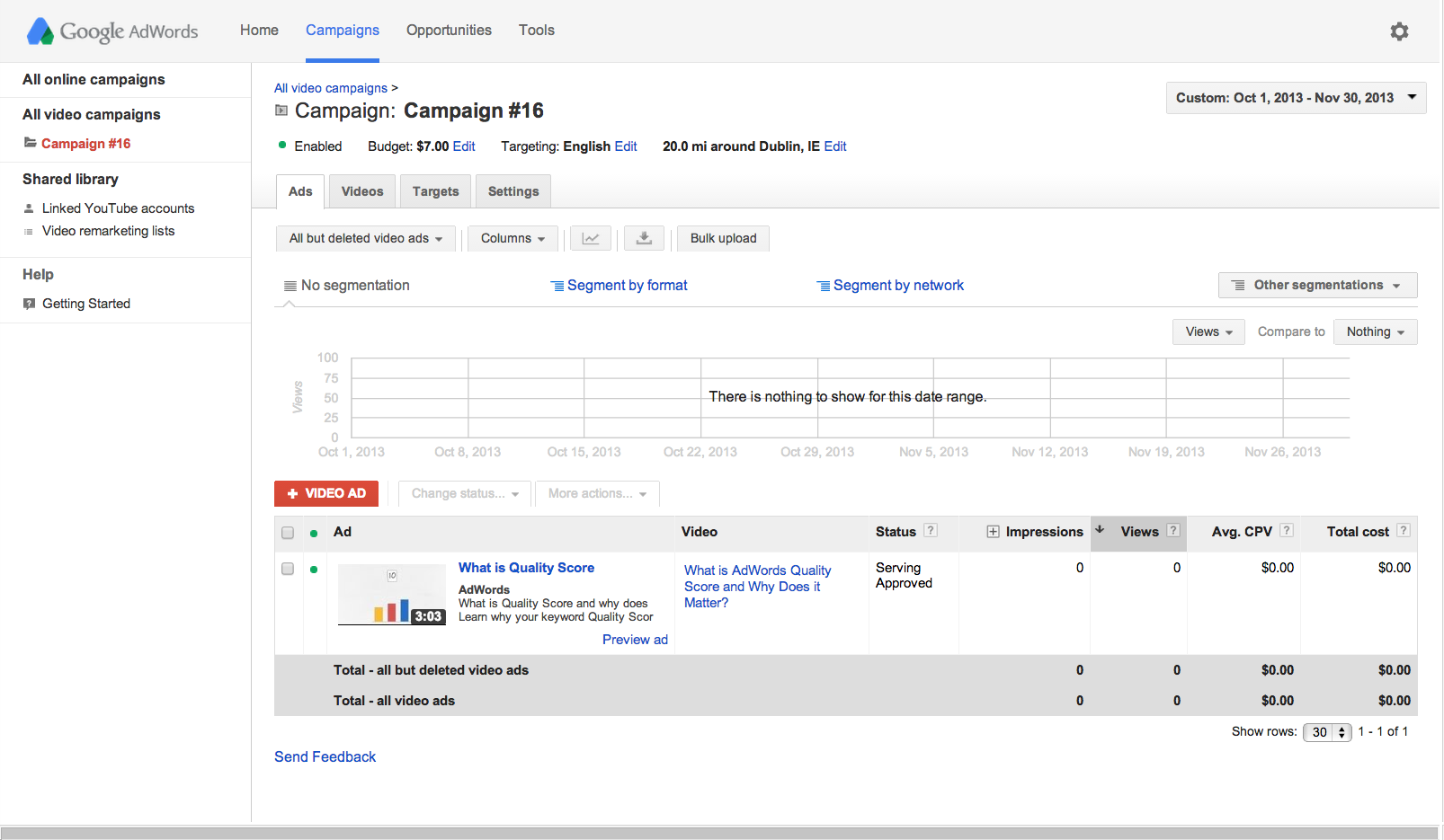 Adwords For Video-Ads Tab
