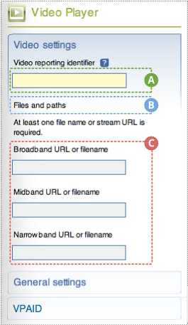 "Video player (basics) Flash component panel open to Video settings with 3 sections labeled: A text field labeled Video reporting identifier; B File and paths heading with message ""At least one file name or stream URL is required"" C Use streaming checkbox; D 3 text boxes for URL or filename: Broadband, Midband and Narrowband"