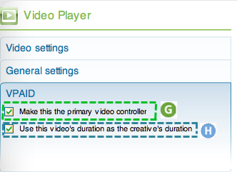 Video player advanced component inspector VPAID panel with 2 labeled checkboxes: G Make this the primary video controller and H Use this video