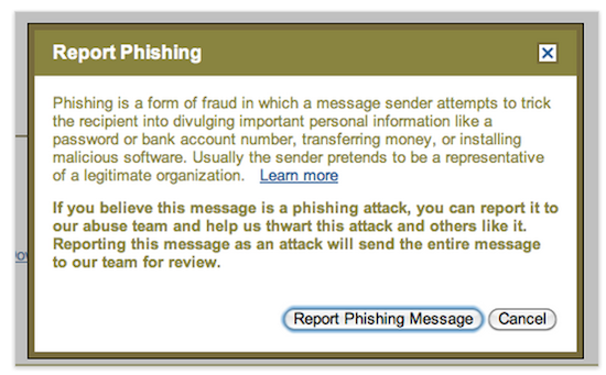 report phishing