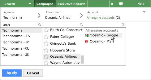 Navigate to a specific engine account.