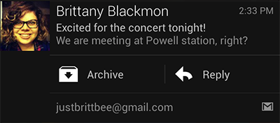 Gmail Android 4.1+Interactive Notifications screenshot