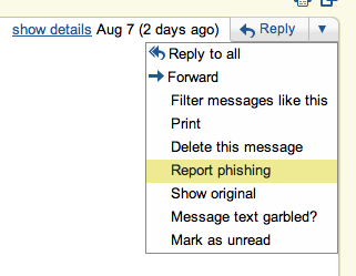 image of the drop down arrow key next to the Reply button in an email message.