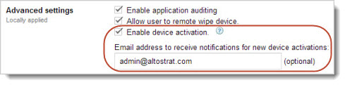 Enable device activation