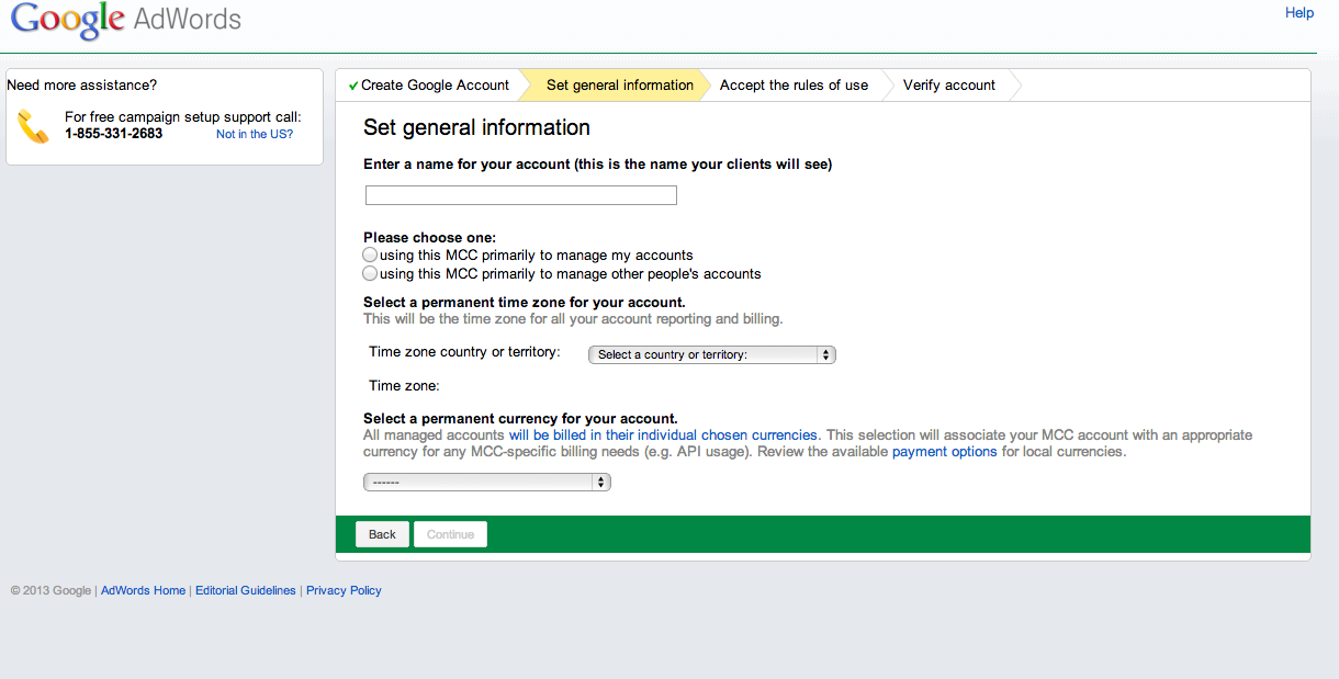 how to set up a google mcc account