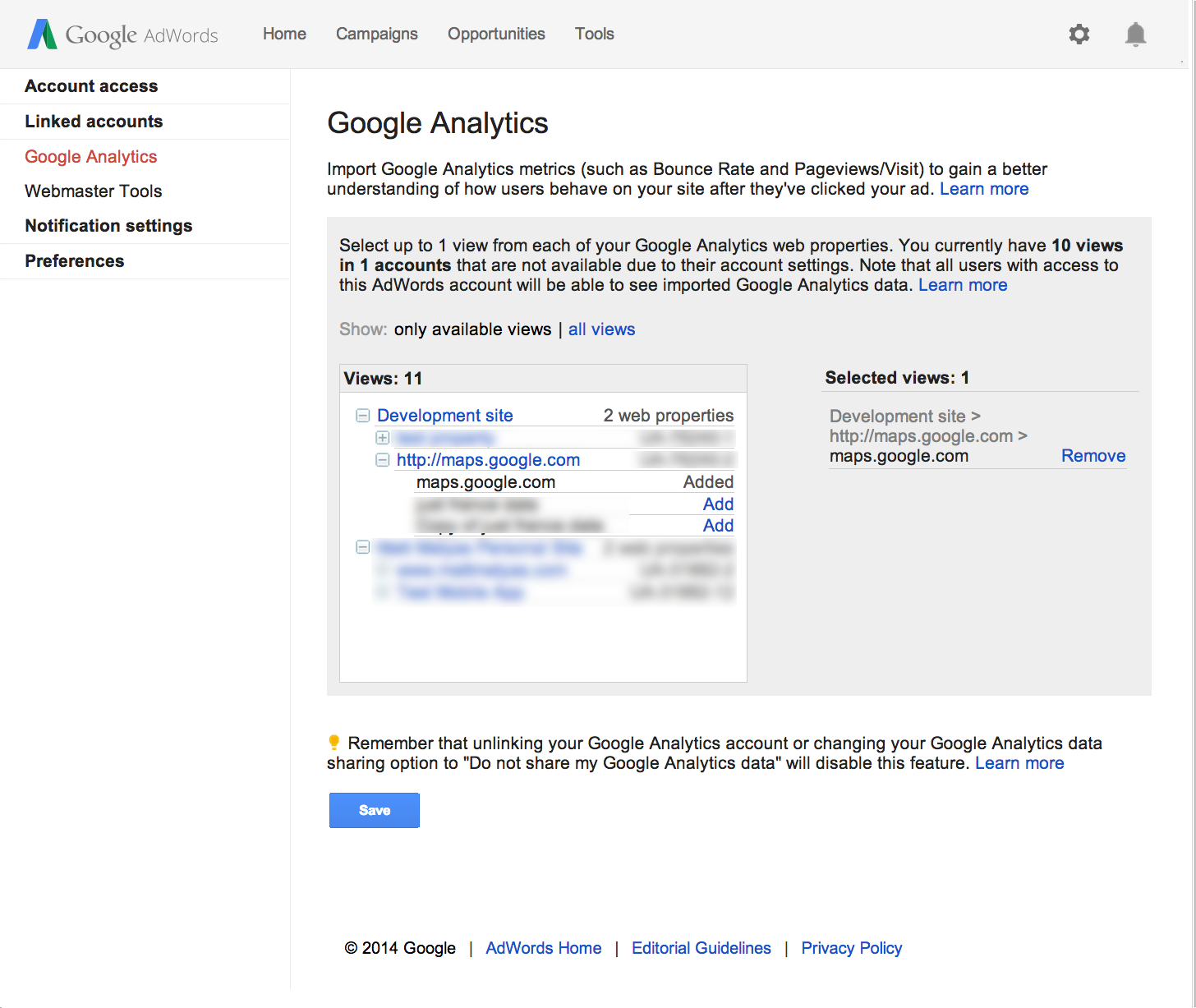 View Google Analytics Views